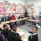 Diane Abbott with the children at Princess May Primary School. Picture: Sarah Burgess