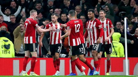 Sheffield United's George Baldock (second left) celebrates scoring his side's first goal of the game