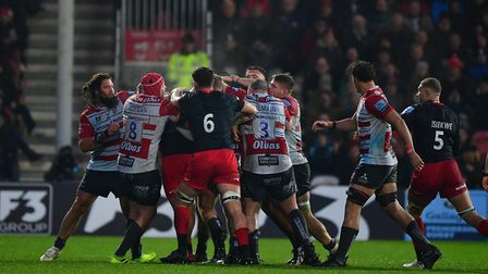Gloucester and Saracens players clash during the Gallagher Premiership match at Kingsholm Stadium, G