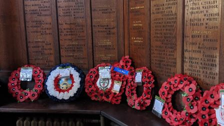 Wreaths at Hornsey War Memorial. Picture: Sam Volpe