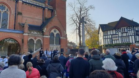 The crowd in the quad at Highgate School for Remembrance Sunday. Picture: Harry Taylor