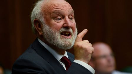 Frank Dobson addresses constituency party members in his farewell speech. Picture: Mark Hakansson.