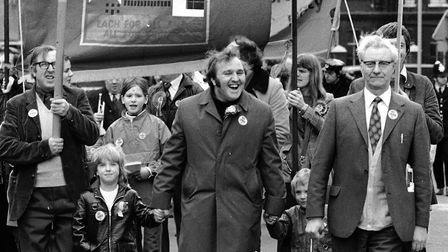 """Lord """"Jock"""" Stallard with his successor Frank Dobson on a Labour rally in 1974. Picture: Nigel Sutto"""