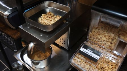 A new machine allowing you to make your own peanut butter at the Thornton's Budgens supermarket in B