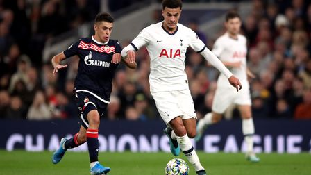 Tottenham Hotspur's Dele Alli in action during the UEFA Champions League Group B match at Tottenham