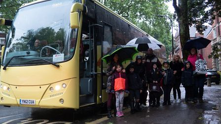 A damp Hampstead day saw the launch of the NW3 Green School Runs group's bus service. Picture: Joshu