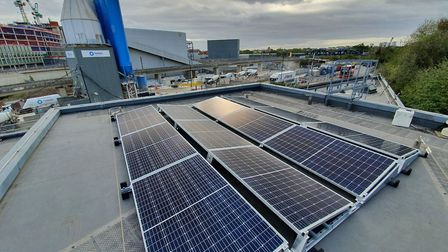 Solar panels on top of Camden Council's York Way depot are now operational. Picture: Camden Council
