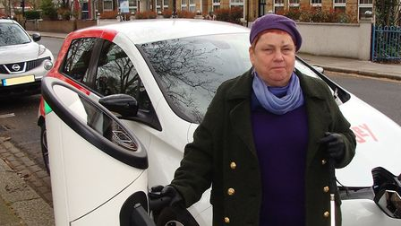 Haringey Council's Cllr Kirsten Hearn at an electric car charging point. Picture: Haringey Council