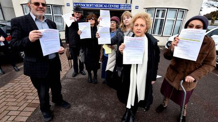 Save Our Surgery campaigners outside Ravenscroft Medical Centre 166-168 Golders Green Road NW11, ahe