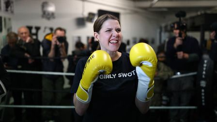 Liberal Democrats leader Jo Swinson in the boxing ring at Total Boxer, a specialised boxing gym whic