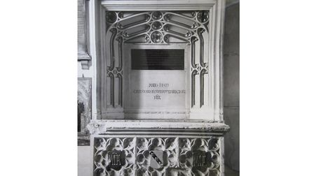 A photo from the 90s of the monument to Christopher Urswick in Hackney Church. Picture: St John at H