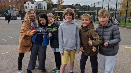 Year 5s Florence, Evie, Honor, Jefferson, Louis and Freddie were all behind the Masked Crusaders mar