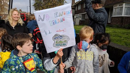 """""""Cough, cough, engine off!"""" Rokesly schoolchildren got behind an anti-idling campaign. Picture: Sam"""