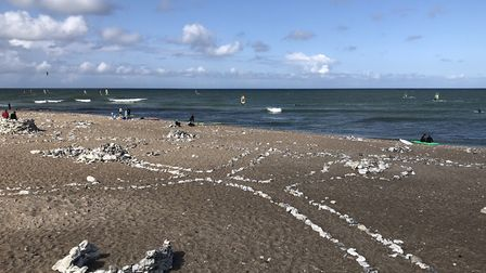 """The beach at Klitmoller. The stones were put in place at the """"Stoner festival"""". Picture: Emma Bartho"""