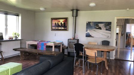 The spacious lounge at the Cold Hawaii Surf Camp house. Picture: Emma Bartholomew