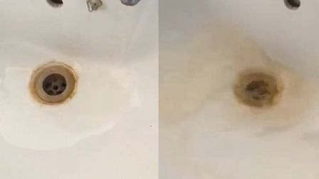 The warm oily water coming out of the bathroom taps. Picture: Supplied