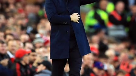Tottenham Hotspur manager Mauricio Pochettino gestures during the Premier League match at Anfield, L