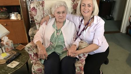 Carer Buki Krasniqi (right) saved Eunice's life when she choked on a piece of toast. Picture: Home I