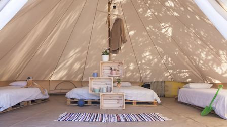 The bell tents at the family surf camp sleep four people. Picture: iSurf Portugal