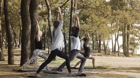 Julia runs a yoga class every day in the shade of the pines. Picture: iSurf Portugal