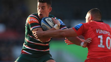 Leicester Tigers' Noel Reid is tackled by Saracens' Manu Vunipola during the Gallagher Premiership m