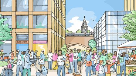 An artist's impression of what a new development in Morning Lane could look like - here with St John