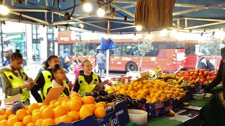 Young people who already run their own stall have been shadowing market inspectors. Picture: Ian Rat