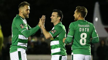 Yeovil Town's Chris Dagnall celebrates scoring his side's first goal of the game with team mates dur