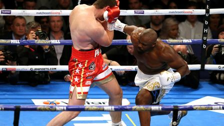 Dereck Chisora (right) and David Price during the inter-continental heavyweight championship at the