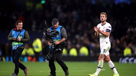 Tottenham Hotspur's Harry Kane applauds the fans after the UEFA Champions League Group B match at To