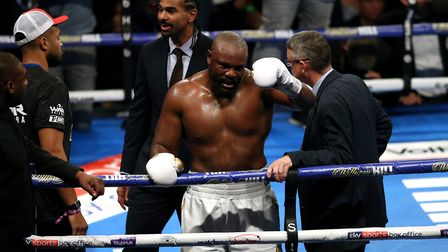 Dereck Chisora celebrates winning the inter-continental heavyweight championship against David Price