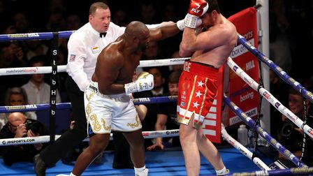 Dereck Chisora (left) and David Price during the inter-continental heavyweight championship at the O