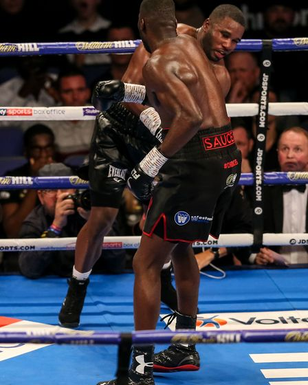 Lawrence Okolie (right) beats Yves Ngabu during his EBU Cruiserweight title bout at the O2 Arena, Lo