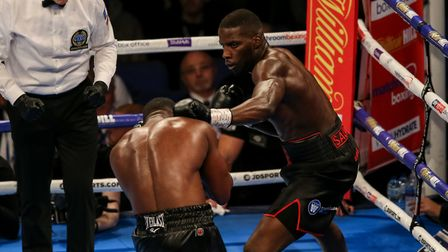 Yves Ngabu (left) during his EBU Cruiserweight title bout with Lawrence Okolie at the O2 Arena, Lond