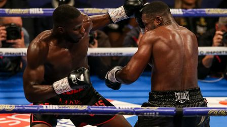 Yves Ngabu (right) during his EBU Cruiserweight title bout with Lawrence Okolie at the O2 Arena, Lon