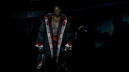 Lawrence Okolie before his EBU Cruiserweight title bout with Yves Ngabu (Black Trunks) at the O2 Are