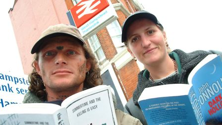 John Henderson and Kerry McGirr with books outside West Hampstead Thameslink Station in 2005. Pictur