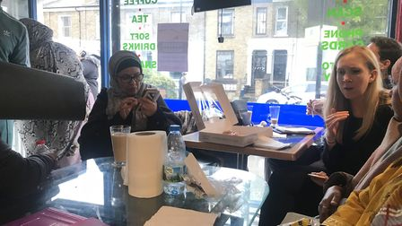 Councillor Caroline Selman speaks with women from the Somali community in Hackney. Picture: Holly Ch