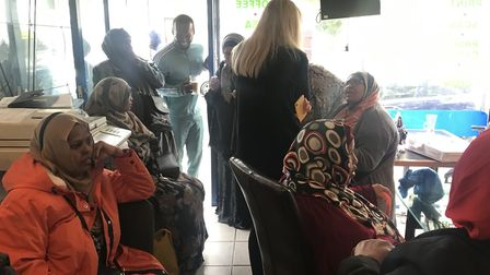 The front-room of the shop-turned-community centre where Somali woman have come to discuss the issue
