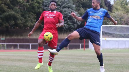 Rickie Hayles of Hornchurch and Ahmet Rifat of Wingate during Hornchurch vs Wingate & Finchley, BetV