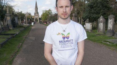 Matt Ogston pictured atMemorial event for his partner Dr Nazim Mahmood at Hampstead Cemetery followe