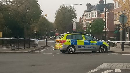 Police at the scene of a stabbing in Muswell Hill. Picture: Hannah Somerville
