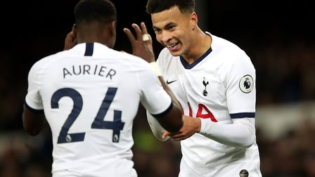 Tottenham Hotspur's Dele Alli (right) celebrates scoring his side's first goal of the game with Serg