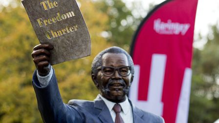 Oliver Tambo's statue at Albert Road Recreation Ground. Picture: Haringey Council