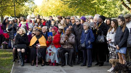 A crowd looks on as Oliver Tambo's statue is unveiled. Picture: Haringey Council