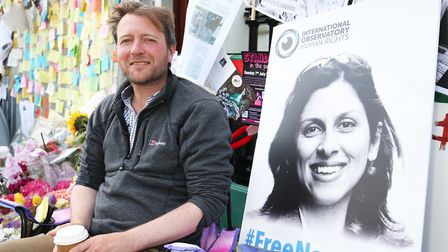 Nazanin's husband Richard Ratcliffe, during his hunger strike outside the Iranian Embassy in Knights