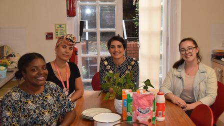 Cllr Maryam Eslamdoust with staff from Solace Women's Aid. Picture: Camden Council