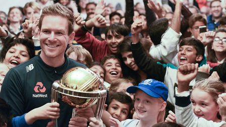Eoin Morgan with the World Cup trophy at Finchley Cricket Club. Picture: Mikesh Nandha Photography