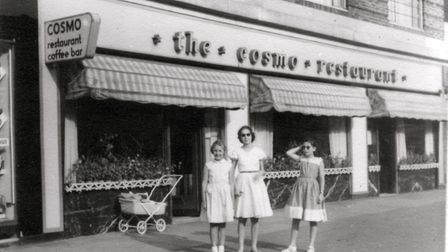 Marion Manheimer (right) with friends outside The Cosmo in 1960