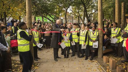 The Mayor of Hackney, Phillip Glanville opens the space to the public. Picture: Ted Mendez